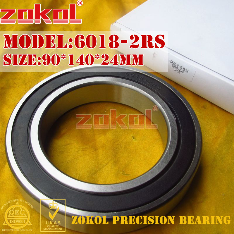 ZOKOL 6018RS bearing 6018 2RS 180118 6018-2RS Deep Groove ball bearing 90*140*24mm zokol 6314 2rs bearing 6314 2rs 180314 deep groove ball bearing 70 150 35mm