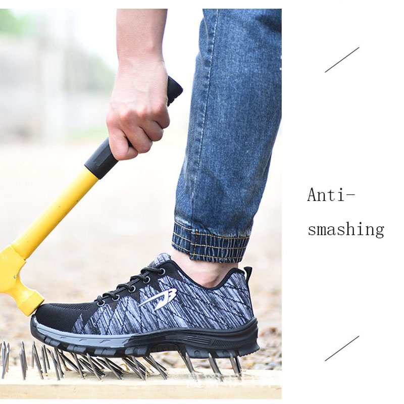 Fashion Men EU Size Work Safety Shoes Steel Toe Cap Anti-Smashing Puncture Proof Durable Protective Footwear men cause shoes big size for men boot safety protective shoes cover man rubber safety shoes cover non slip anti smashing steel toe work shoes