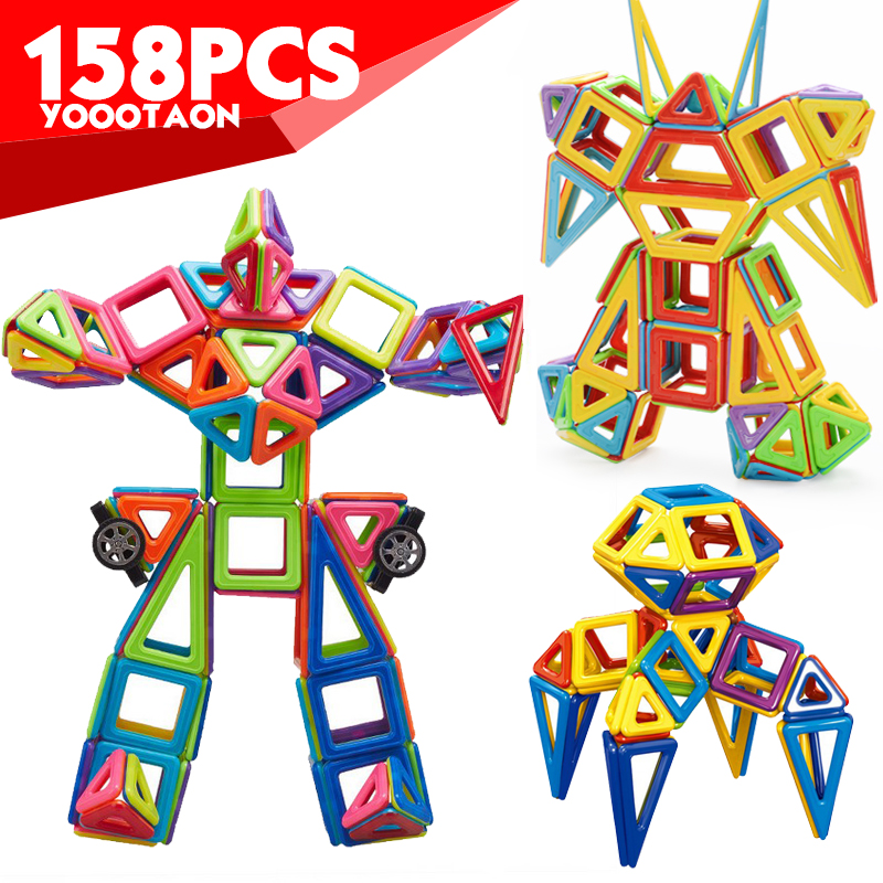 Mini 158pcs/lot Magnetic Models Building Blocks Construction Toys DIY 3D Magnetic Designer Learning Educational Bricks Kids Toys minitudou 88pcs kids toys educational magnetic blocks designer 3d diy models construction creative enlighten building toy gifts