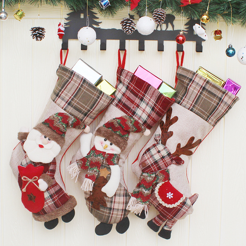 2017 Happy New Year Christmas Stockings Santa Claus Candy Gift Bag Socks Xmas Tree Hanging Ornament Decoration for Home