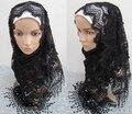 Nova moda feminina floral lace alta qualidade viscose xales planície longo envoltório hijab muçulmano lenços/cachecol