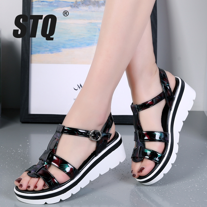 STQ Platform Sandals Heel Gladiator Ladies Flip-Flops Women Wedge Black Flat Beach 8119