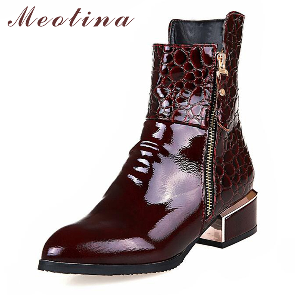 цены Meotina Women Chelsea Boots Footwork Block Heels Boots Ankle Boots 2018 Autumn Zipper Short Shoes Winter Black Red Size 33-42
