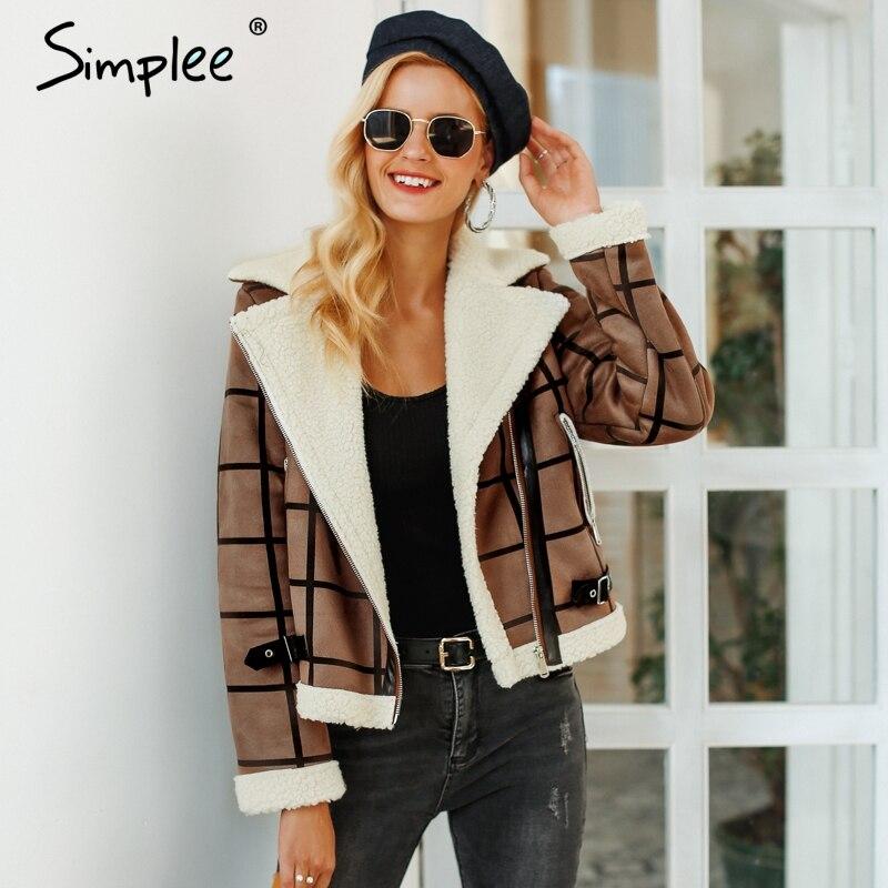Simplee мода плед ягненка Меховая куртка пальто Faux женщин зимняя куртка отложным 2018 осенние пальто женский Повседневное молния пальто
