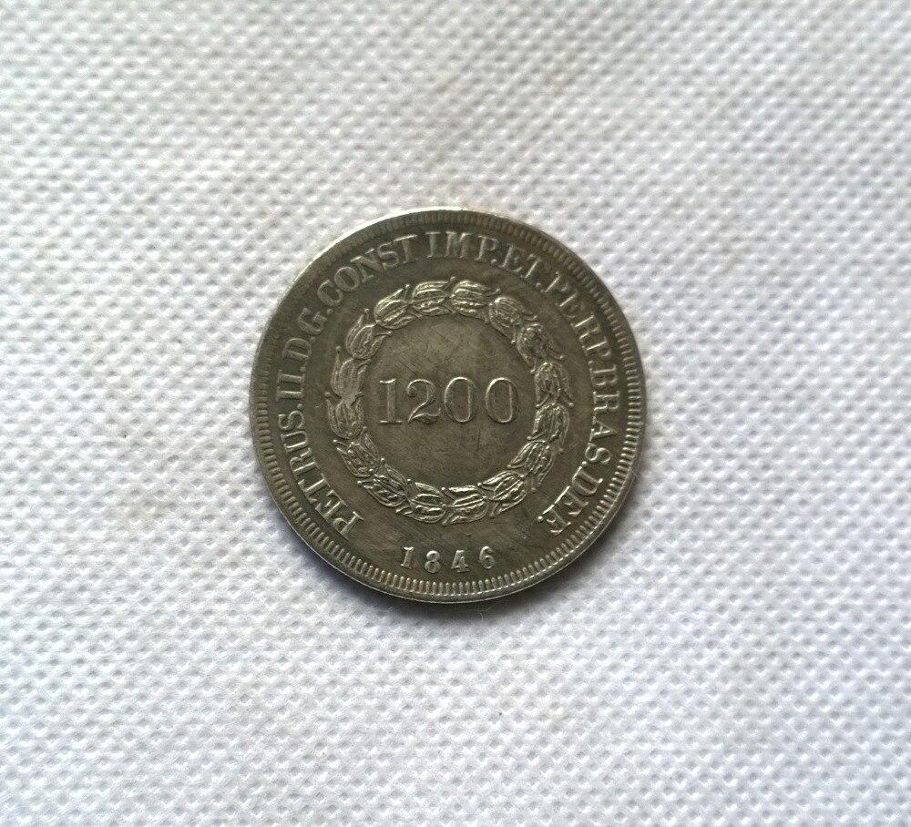 1846 Бразилия 1200 Reis МОНЕТА КОПИЯ БЕСПЛАТНАЯ ДОСТАВКА