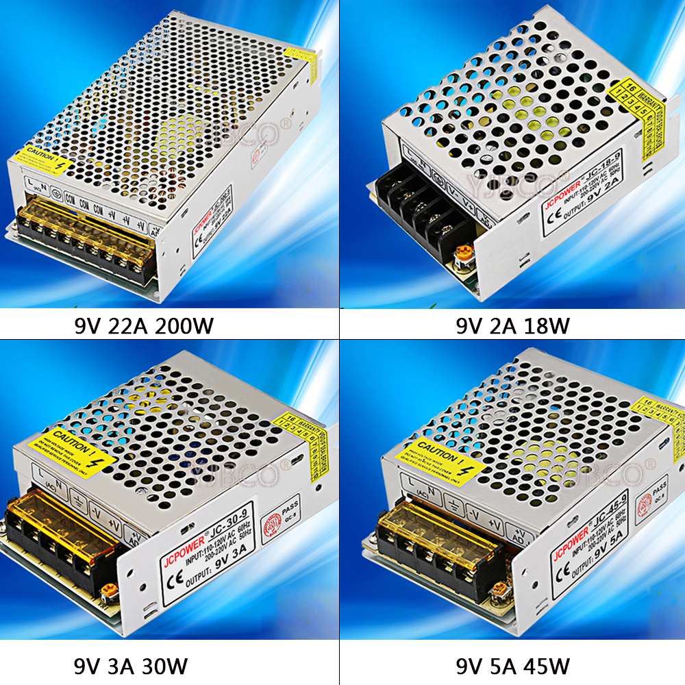 Regulated Switching Power Supply DC9V 2A/3A/5A/22A/30A Swich Driver Transformer AC110V 220V to DC 9v For LED Strip Light CNC 201w led switching power supply 85 265ac input 40a 16 5a 8 3a 4 2a for led strip light power suply 5v 12v output