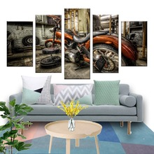 HD Printed Modular Canvas Art Wall Pictures Frame Home Decor Photo 5 Pieces Motorcycle Race Poster Car Oil Painting Living Room