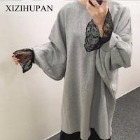 XIZIHUPAN Flare Sleeve Dresses For Women Lace Mermaid Dress Female Loose Big Size Top Mini Korean Clothes Fashion Clothing Tide