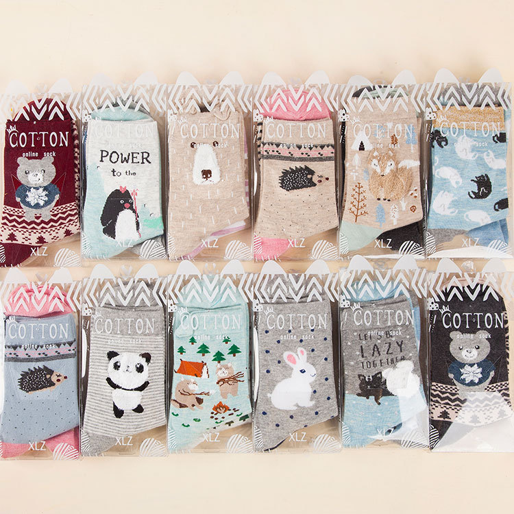 4pcs=2Pairs/lot Women   Socks   Cartoon Animals Cotton Kawaii Girl Short Harajuku Street Tide Casual   Socks   Christmas Gift   Socks