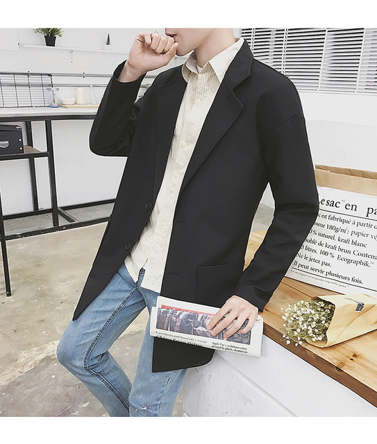 2018 new lapel youth coat trend solid color windbreaker business handsome