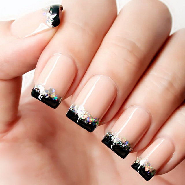 24pcs Gorgeous Black French Nail Art Tip With Glitter Sequins Resin
