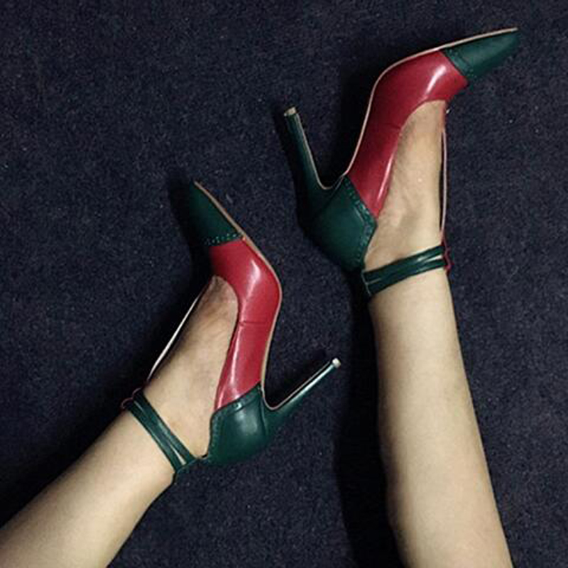 2017 Top Selling Wedding Party Dress Shoes Women Pointed Toe Pumps Luxury Patchwork Ankle Strap High Heels Wholesale Dropship wholesale lttl new spring summer high heels shoes stiletto heel flock pointed toe sandals fashion ankle straps women party shoes