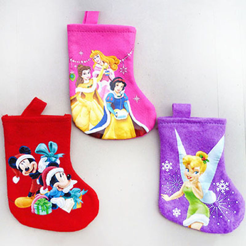 Christmas sock stocking Minnie mouse Anna Elsa princess tinker bell Flower Fairy Christmas gift bag tree decoration