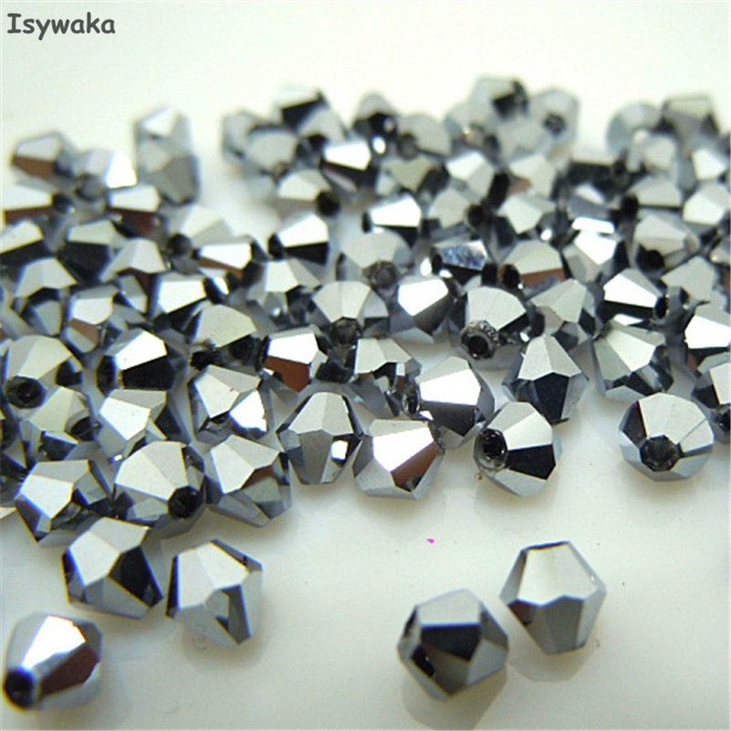 Free shipping New Silver 100pcs 4mm Bicone Austria Crystal Beads charm Glass Beads Loose Spacer Bead for DIY Jewelry Making