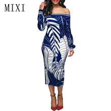 MIXI Vintage Retro Print Dress Women Sexy Off Shoulder Long Sleeve Elegant Midi Dress Ladies Casual Party Pencil Bodycon Dresses