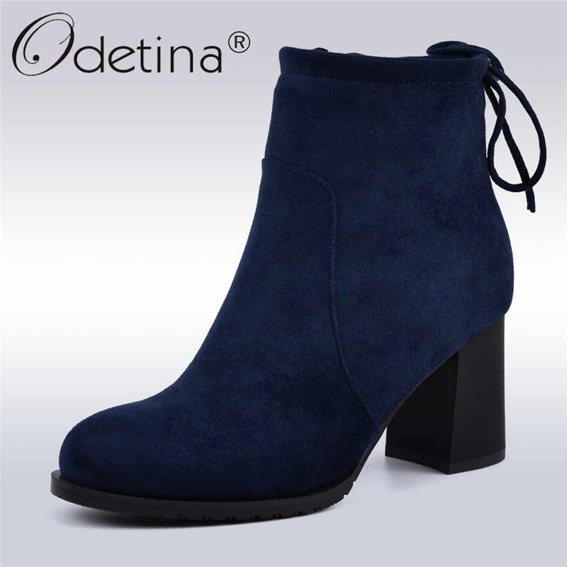 Odetina New Fashion Flock Leather Women Boots Hoof High Heels Side Zipper Back Lace Up Female Concise Ankle Boots Antumn Winter lace up zipper back transparent heels