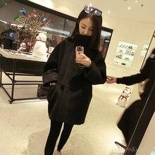 Woman Thicken Long Bat Sleeve Palto Woolen Maxi Down Coat Autumn Long Warm Jacket Manteau Femmee Korean Cloak Winter Windbreaker