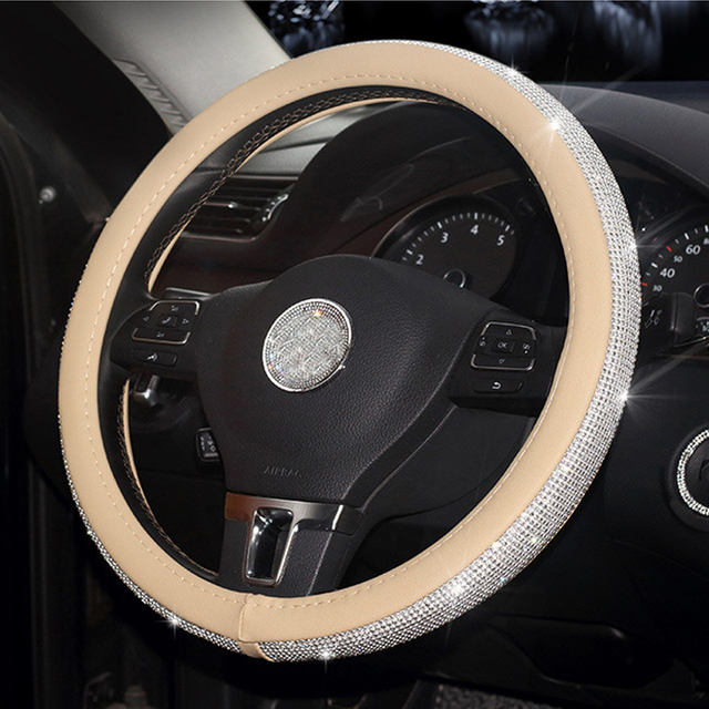 Crystal Rhinestone Car Leather Steering Wheel Covers Cap Steering-Wheel Cover Auto Car Interior Accessories For Women Girls