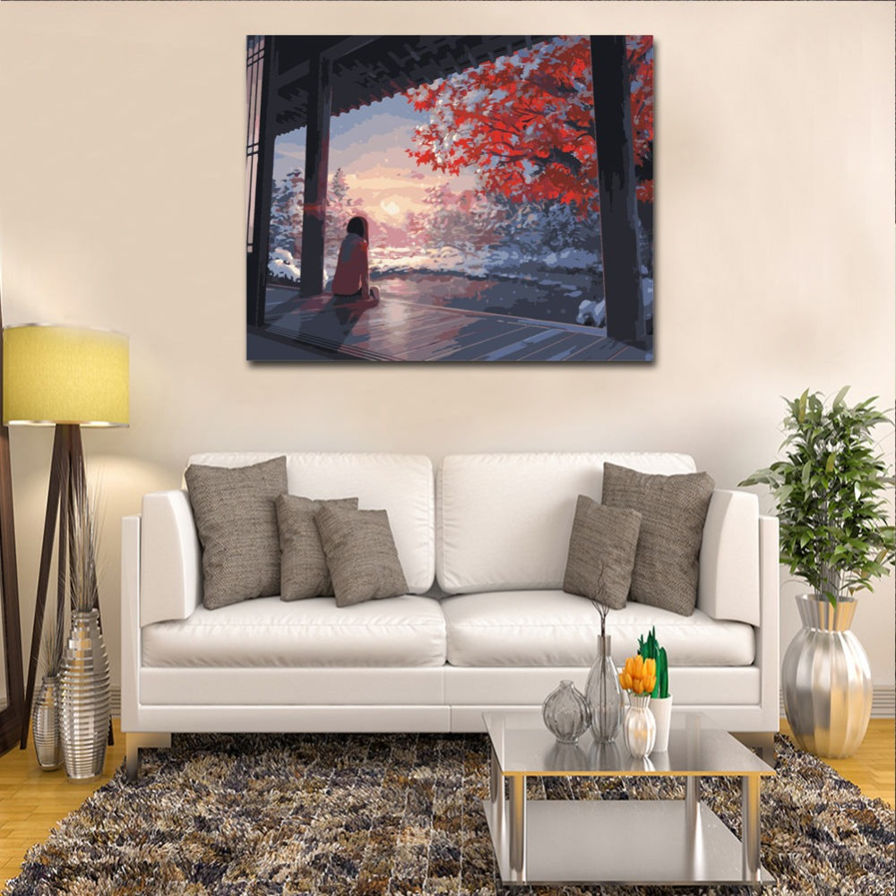 WEEN Beautiful Sky DIY Painting By Numbers Kit Paint On Canvas Coloring By Numbers Painting Calligraphy For Home Decor 40x50cm in Painting Calligraphy from Home Garden
