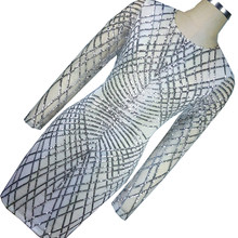 Sliver Geometric Sequin Bandage Dress Long Sleeve Vintage Office Pencil Dress Womens Sexy Dresses Celebrity Night Club Dress(China)