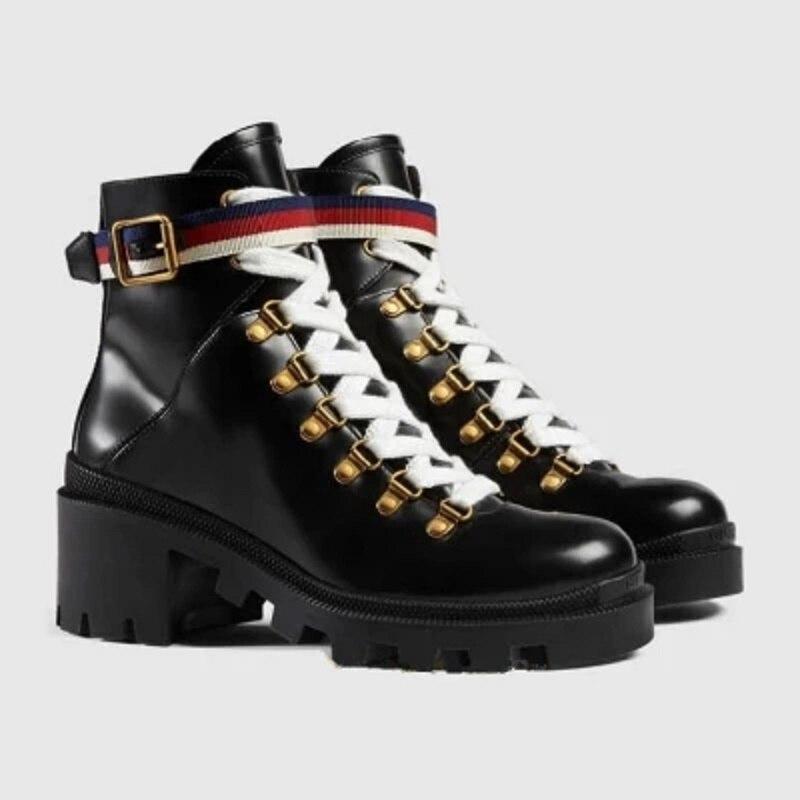 2018 hiver nouveau Martin bottes femme Britannique vent haute à aider épais avec cheville bottes étudiant rétro militaire bottes moto trop