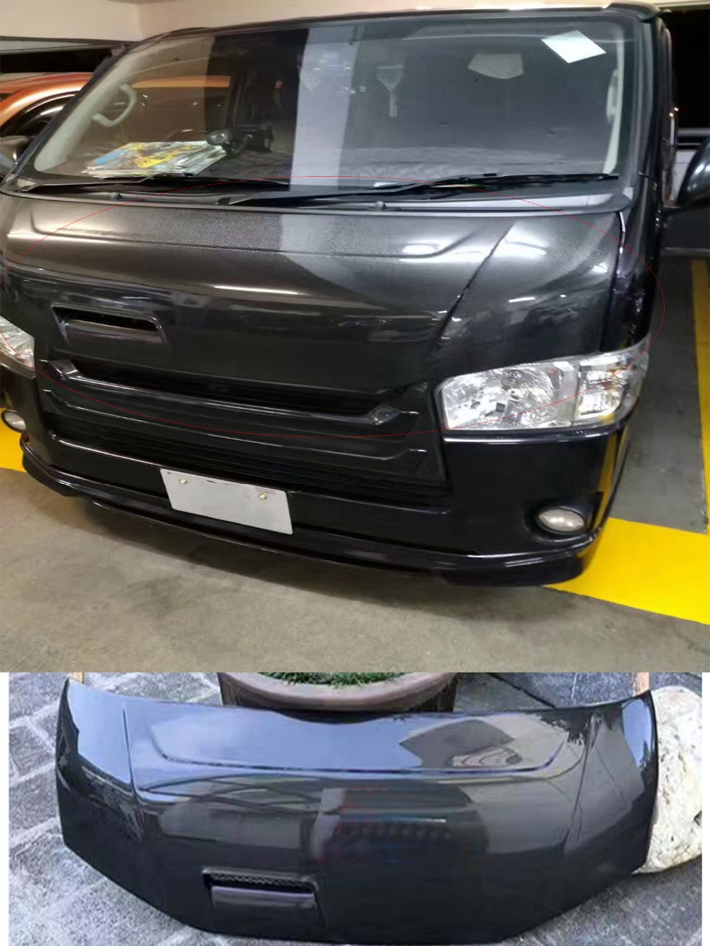 Carbon hood engine head cover with hole for toyota hiace 200 2014 2017 china