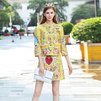 2018 New Fall Winter Stylish Women Print 2 Pieces Skirts Sets Flower Printed Jacket Slim Mini Skirt Yellow Skirt Suits Set