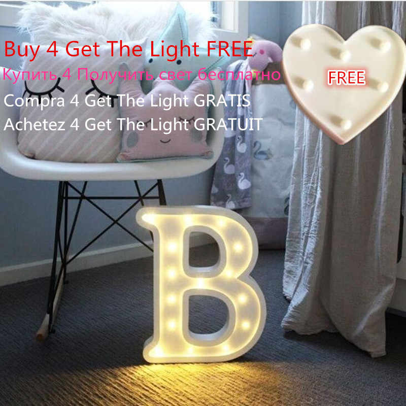 Luminous Letter Night Led Light Creative 26 English Alphabet Number Led Lamp Battery Romantic Wedding Party Decoration Drop Ship