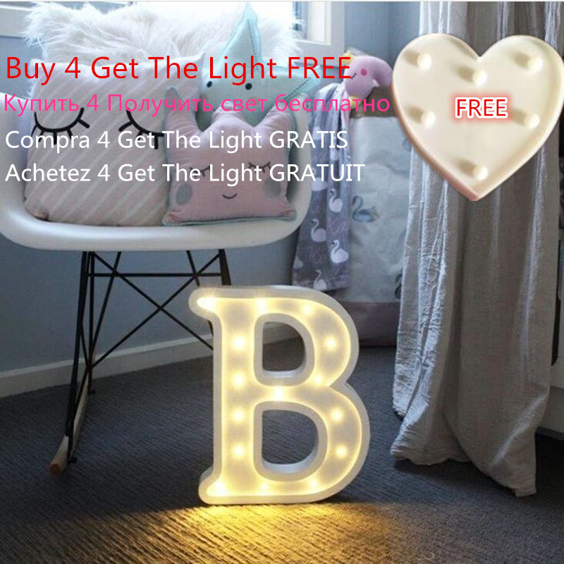 Купить со скидкой Luminous Letter Night Led Light Creative 26 English Alphabet Number Led Lamp Battery Romantic Weddin