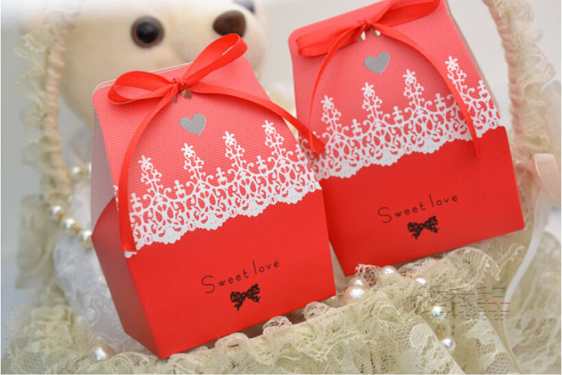 100pcslot Red Wedding Sweet Love Candy Box Special Cute Gift Box