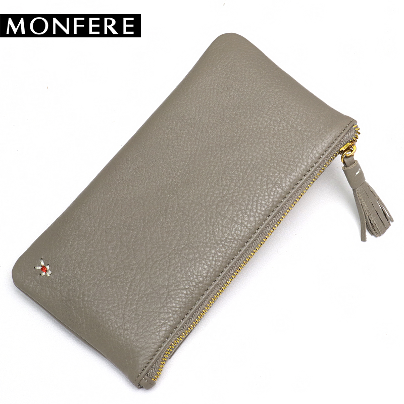 MONFERE 2018 New Women Wallets Genuine Leather High Quality Long Design Clutch Cowhide Wallet High Quality Fashion Female Purse star wars purse high quality leather