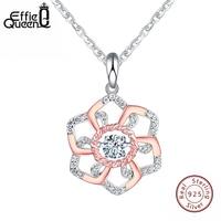 Effie Queen New 925 Sterling Silver Necklace Jewelry AAA Zircon CZ Diamond Necklaces Pendants For Women