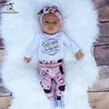 Autunmn Roupas Bebê Recém-nascido Definidos Conjuntos de Roupas Meninas 3 pcs Longo manga T-Shirt Calças Chapéu Crianças Bebê Menino Roupas Bebe Roupas conjunto