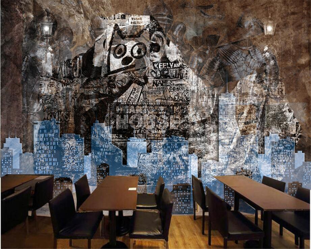 Beibehang カスタム壁紙画像抽象レトロなノスタルジックな落書き石の壁