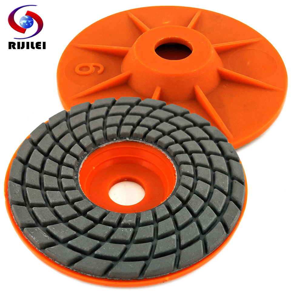 RIJILEI 7PCS/Set 100mm Diamond Polishing Pad 4inch Wet Flexible Granite Polishing Pads Concrete Floor Marble Grinding Discs ZJ06