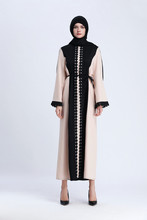 ZOGAA New Muslim long dresss splice lace robes national style dress  Patchwork Embroidery scarf