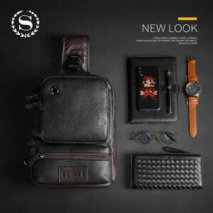 Image 5 - Мужские кожаные рюкзаки Scione, модные уличные деловые повседневные водонепроницаемые сумки через плечо с разъемом для наушников