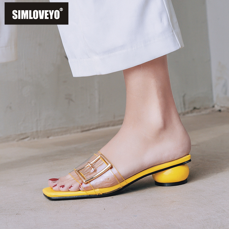 SIMLOVEYO Women's Slides Summer Shoes Buckle Slip On Pig Leather High Quality Transparent Spherical Heel White Pink Yellow B1195