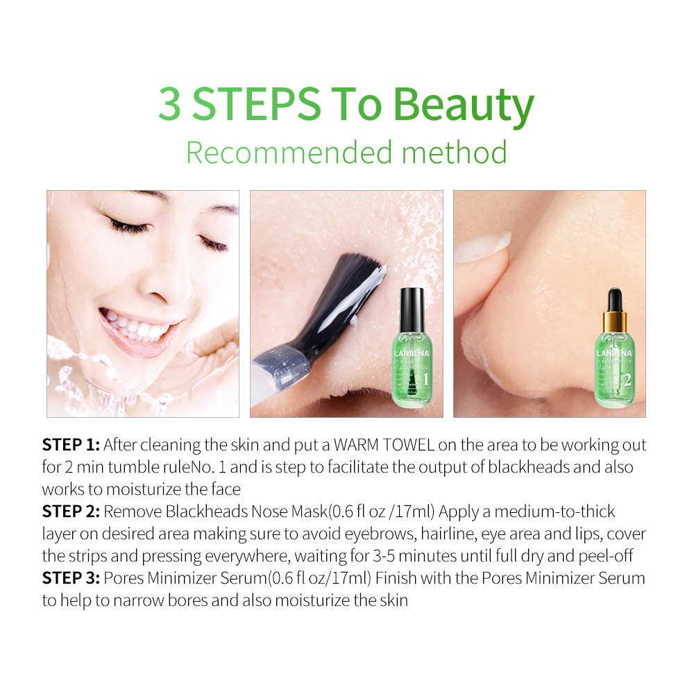 LANBENA פנים סרום חטט Remover כיווץ נקבובית אקנה טיפול עמוק ניקוי טיפוח עור החלקת מיצוק מהות יופי סט