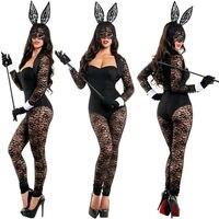 נשים ילדה ארנב ארנב שחור מבוגר סרבל בגד גוף תחפושת תלבושות תחפושות KM7038