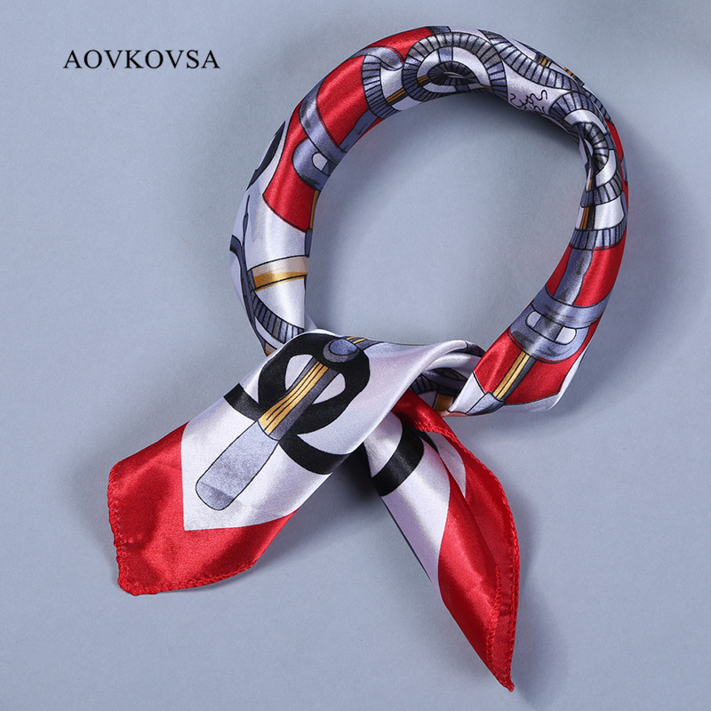 AOVKOVSA 2017 new Satin women silk scarf small squares printing bandana collar little cravat scarves 50*50cm(China (Mainland))