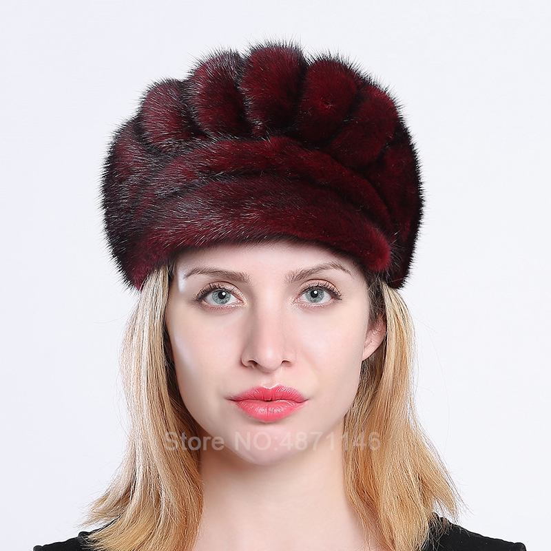 New Women Men Autumn Winter lady real Fur mink Hats For Men Women Female Visor Warm genuine Natural mink fur Baseball Caps Hats
