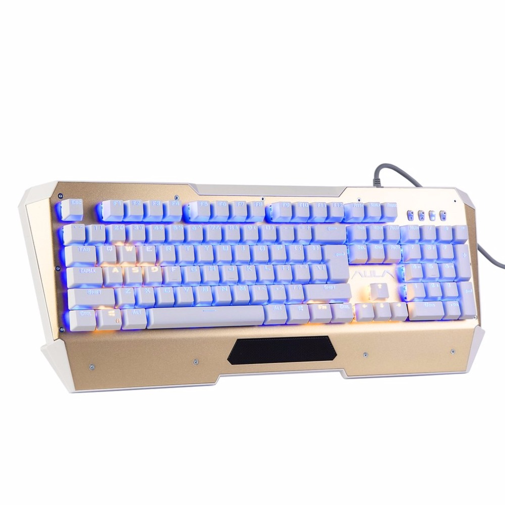 AULA Professional Wired Mechanical Keyboard 104 Keys LED Backlight Optical Gaming Keyboard for Tablet Desktop Green Axis aula led back lit usb gaming keyboard and 7d wired optical mouse