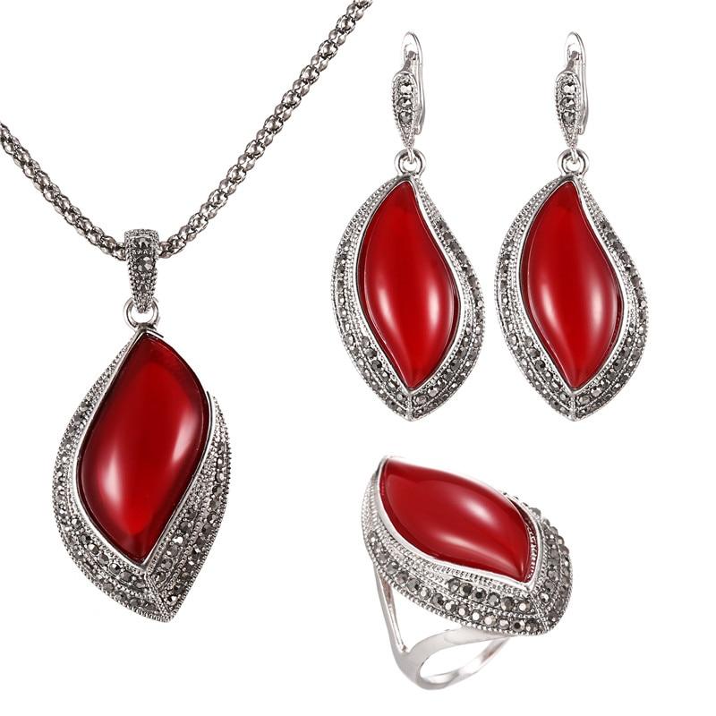 3Pc / Set indiai esküvői ékszer szett női antik ezüstözött fekete kristály piros levél medál nyaklánc fülbevaló gyűrű készlet 20%  t