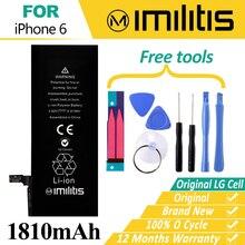 Оригинальный imilitis мобильный телефон Батарея для iPhone 6 Батарея Замена Bateria для Apple iPhone 6 батарей 1810 мАч 0 круг