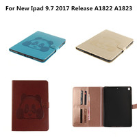 For Coque New IPad 9 7 Inch 2017 Panda Flip Folio PU Leather Book Stand Cover