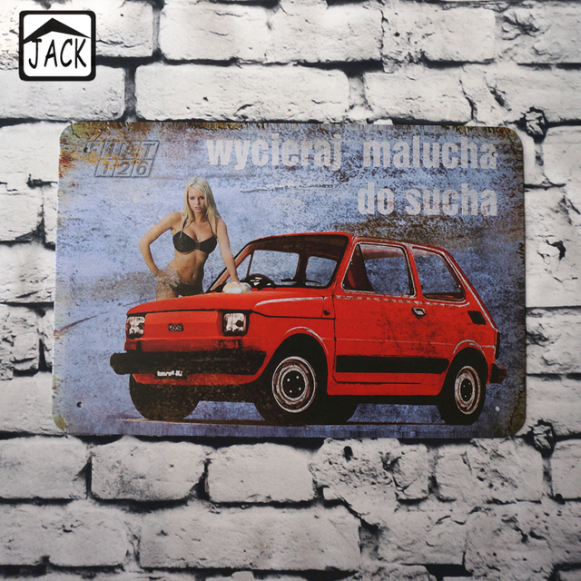 Hot Chick In Bikini Red Car 20X30CM Vintage Metal Signs Home Decor Retro  Tin Signs Pub