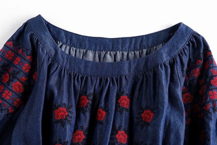 6014554b1aa summer style European and American embroidered denim brand solid fold  embroidered dress Tencel denim dress a word factory direct-in Dresses from  Women s ...