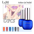 6 Pcs Free Shipping Lvmay Brand Velvet Gel Gorgeous Nail Polish Vernis Factory Wholesale No Need Top Coat 48 Fashion Colors