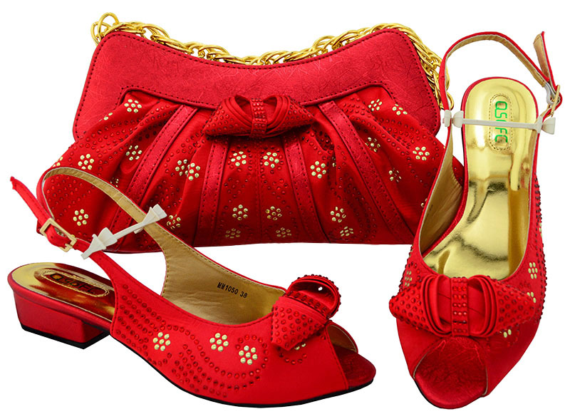 SB8096-6 Fashion low heel sandal shoes for old lady dance in african aso ebi party with matching clutcches wedding bag red пазлы trefl пазл для девочек монстр хай 500 деталей